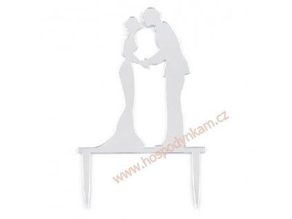 Svatební dekorace na dort Silueta nevěsty a ženicha