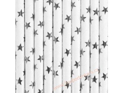 Papírová brčka stříbrná hvězda