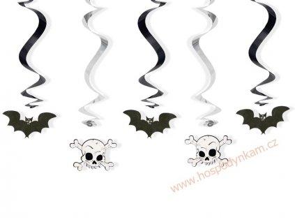 Spirálová dekorace netopýr a lebka