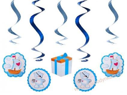 Spirálová dekorace medvídek modrý