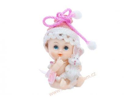 Figurka na dort - holčička s králíčkem