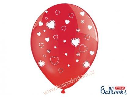 Balónky červené s bílými srdíčky 6ks