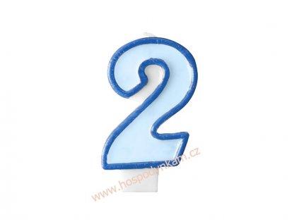 Dortová svíčka číslice modrá 2