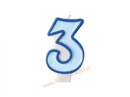 Dortová svíčka číslice modrá 3