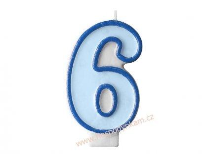 Dortová svíčka číslice modrá 6
