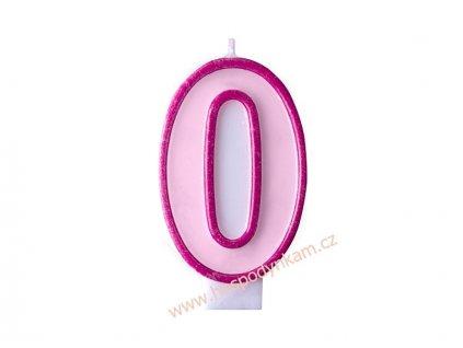 Dortová svíčka číslice růžová 0