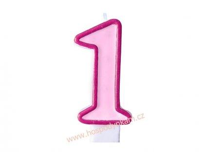 Dortová svíčka číslice růžová 1