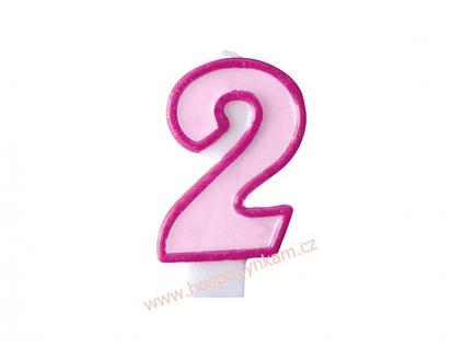 Dortová svíčka číslice růžová 2