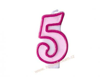 Dortová svíčka číslice růžová 5