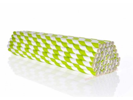 Papírová brčka zelený proužek