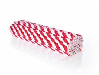 Papírová brčka červený proužek