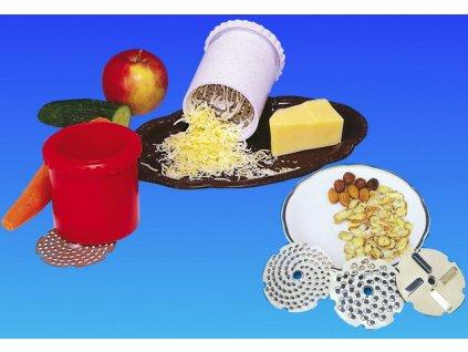 Rotační strouhátko na sýr, ořechy, čokoládu + 3 planžety