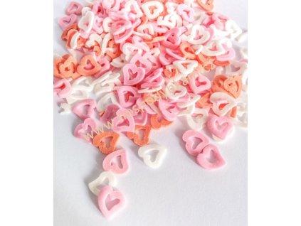 Cukrové zdobení - srdíčka červeno-růžovo-bílá 25g