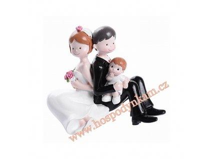Figurka na dort - nevěsta a ženich s chlapečkem