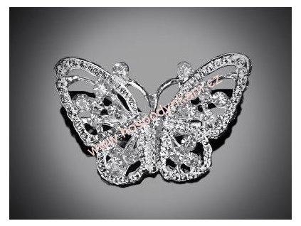 Štrasová brož motýl s kamínky