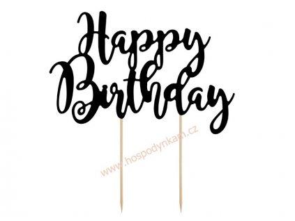 Zapichovací dekorace Happy Birthday černá