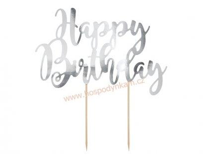 Zapichovací dekorace Happy Birthday stříbrná
