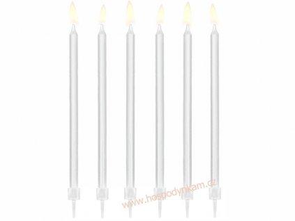 Dortové svíčky dlouhé bílé 12ks