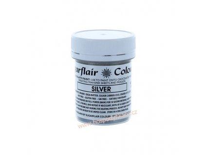 Barva na čokoládu Stříbrná perleťová 35g