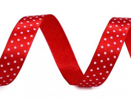 Stuha červená s puntíky 22,5m