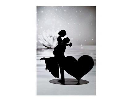 Svatební pár silueta se srdcem