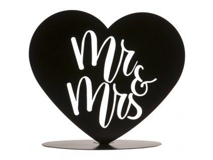 Svatební dekorace srdce Mr. & Mrs.
