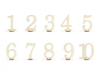 Dekorace číslice dřevěné 10ks