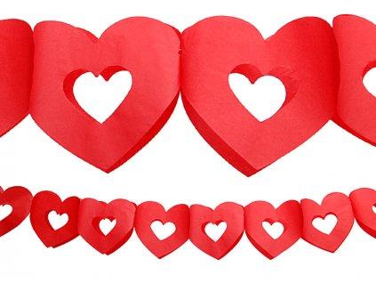Girlanda Červené srdce 3m