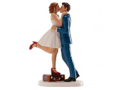 Figurka na dort nevěsta a ženich s kufrem