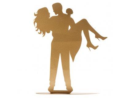 Svatební pár silueta v náručí (zlatá)