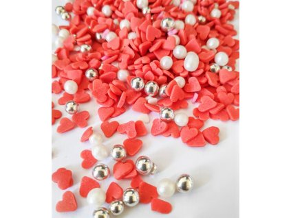 Cukrové zdobení červeno bílý mix 30g