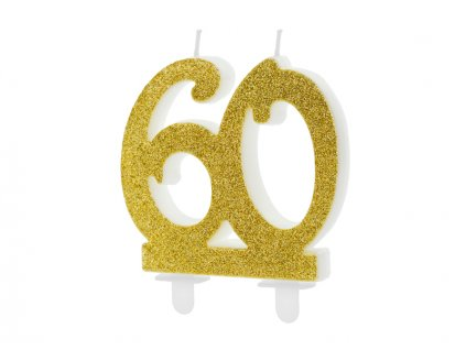 Dortová svíčka číslice 60, zlatá