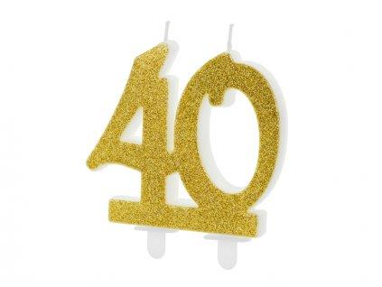 Dortová svíčka číslice 40, zlatá