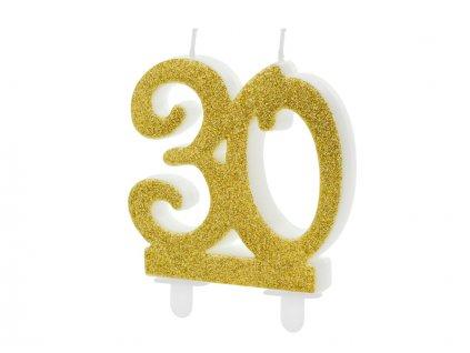 Dortová svíčka číslice 30, zlatá