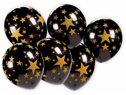 Balónky Černé s hvězdami 7ks