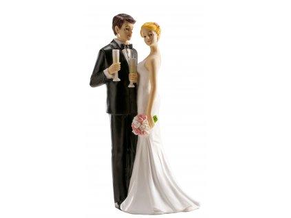 Figurka na dort ženich a nevěsta se šampaňským