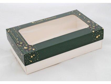 Krabice na cukroví Veselé Vánoce (zelená)