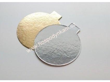Dortová podložka zlato-stříbrná 8cm