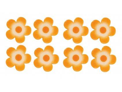 Čokoládová dekorace Kytičky oranžové 6ks