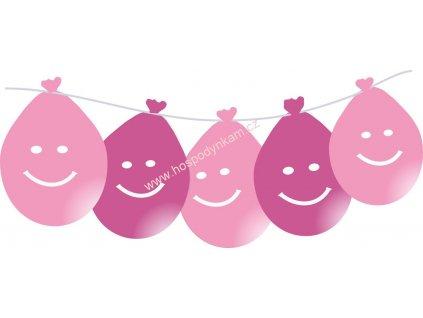 Balónky smajlík LED svítící, růžové 5ks