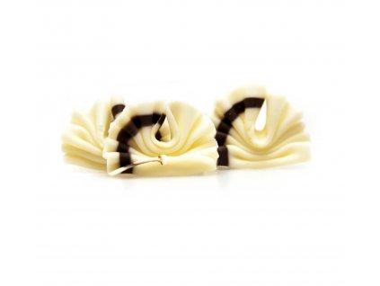 Čokoládová dekorace Vějíř (tmavá-bílá) 30g