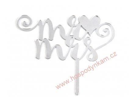 Svatební dekorace na dort Mr. a Mrs. stříbrná