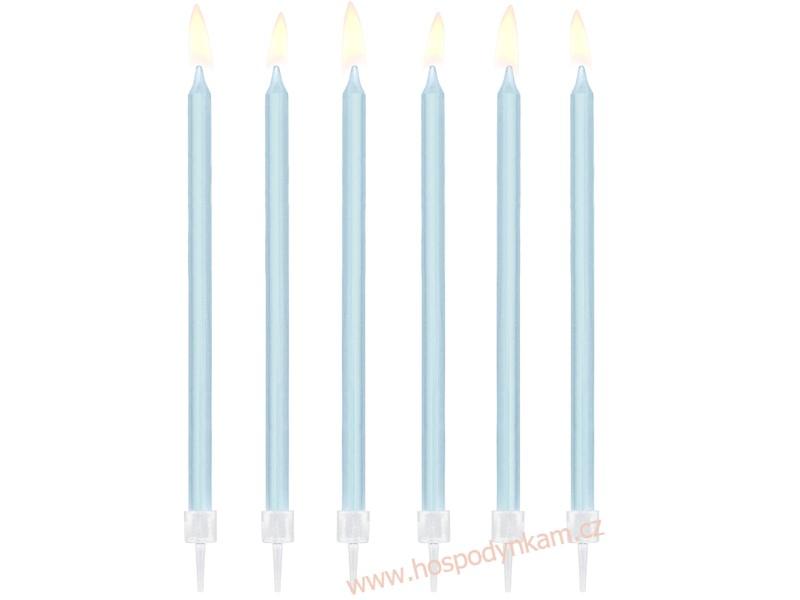 Dortové svíčky dlouhé modré 12ks