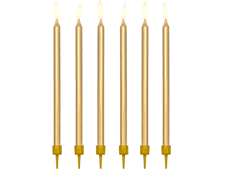 Dortové svíčky dlouhé zlaté 12ks