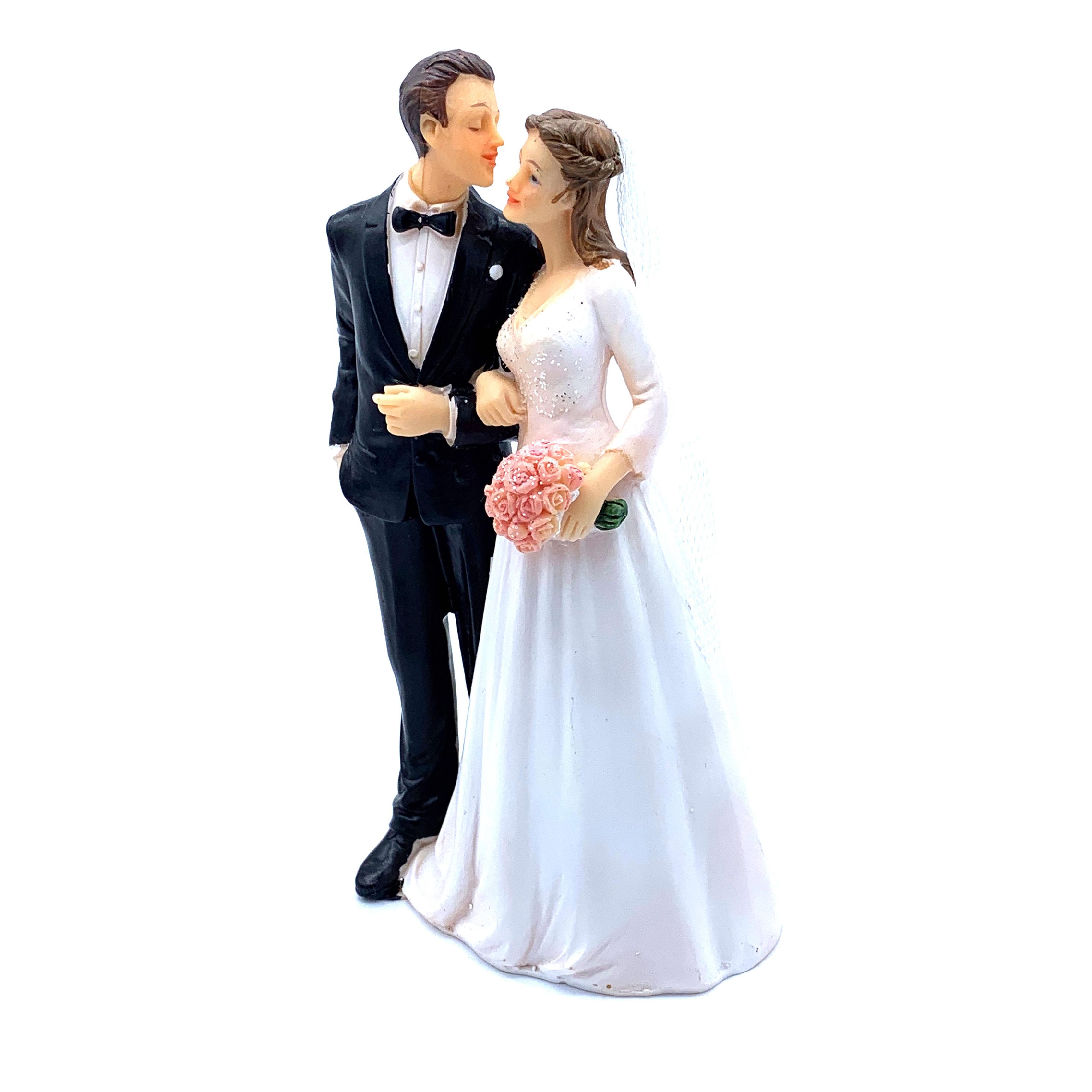 Figurka na dort - svatební pár s kyticí růží