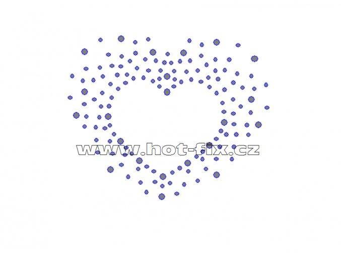 SB001-A - srdce nažehlovací hot-fiix kamínkový potisk na textil, rozměry cca 9,3x7,6cm