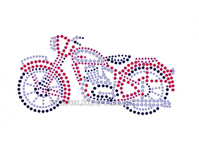 M014 - motocykl perak nažehlovací potisk z hot-fix kamenů, rozměry cca 15,9x8,1cm
