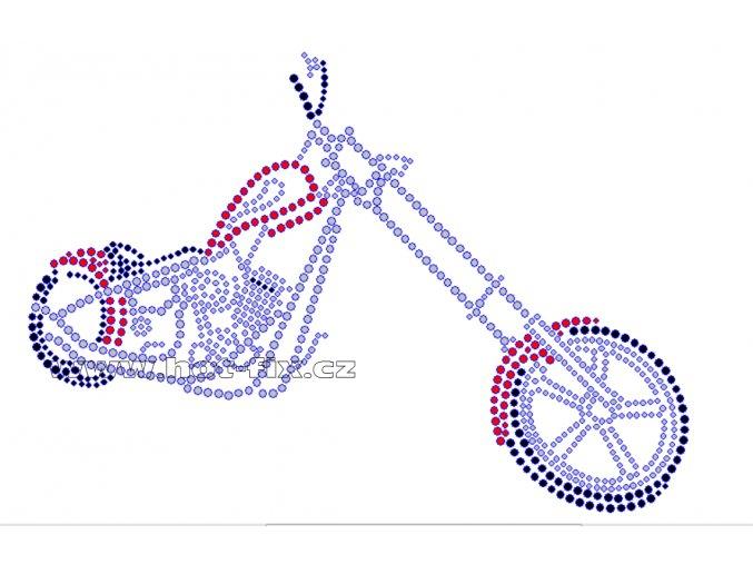 M019 - motocykl chopper nažehlovací potisk z hot-fix kamenů, rozměry cca 21,5x14,9cm