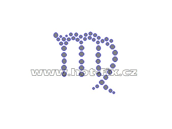 SZ002-06 - hot-fix kamínkový potisk znamení zvěrokruhu Panna (23. 8.-22. 9.), rozměry cca 5,0x4,8cm