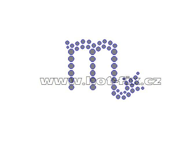 SZ002-08 - hot-fix kamínkový potisk znamení zvěrokruhu Štír (24.10.-22.11.), rozměry cca 5,4x4,1cm